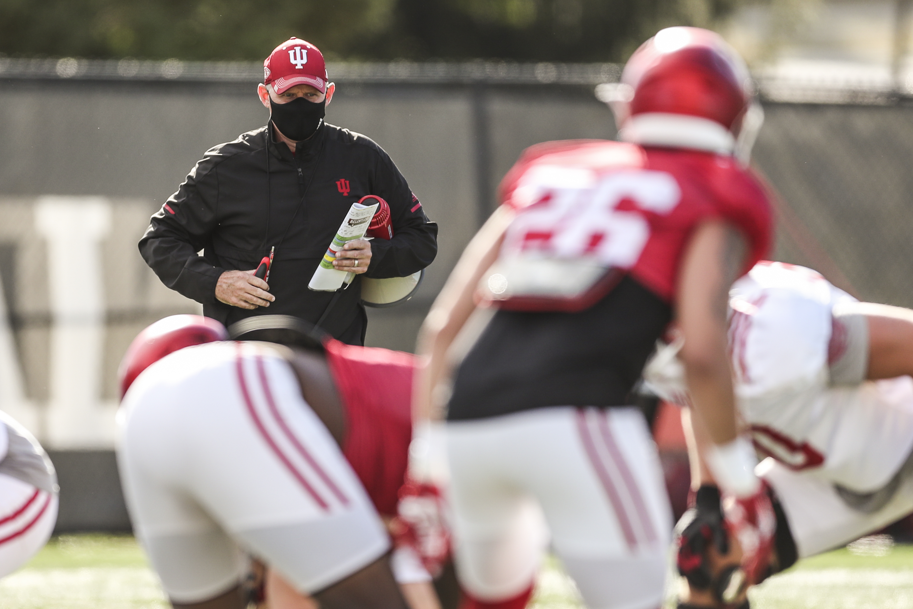 Indiana football coach Tom Allen watches over practice September 30 at the IU practice fields.