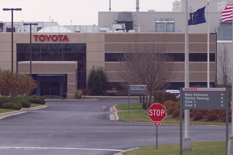 The entrance to the Toyota plant in Princeton, Ind.