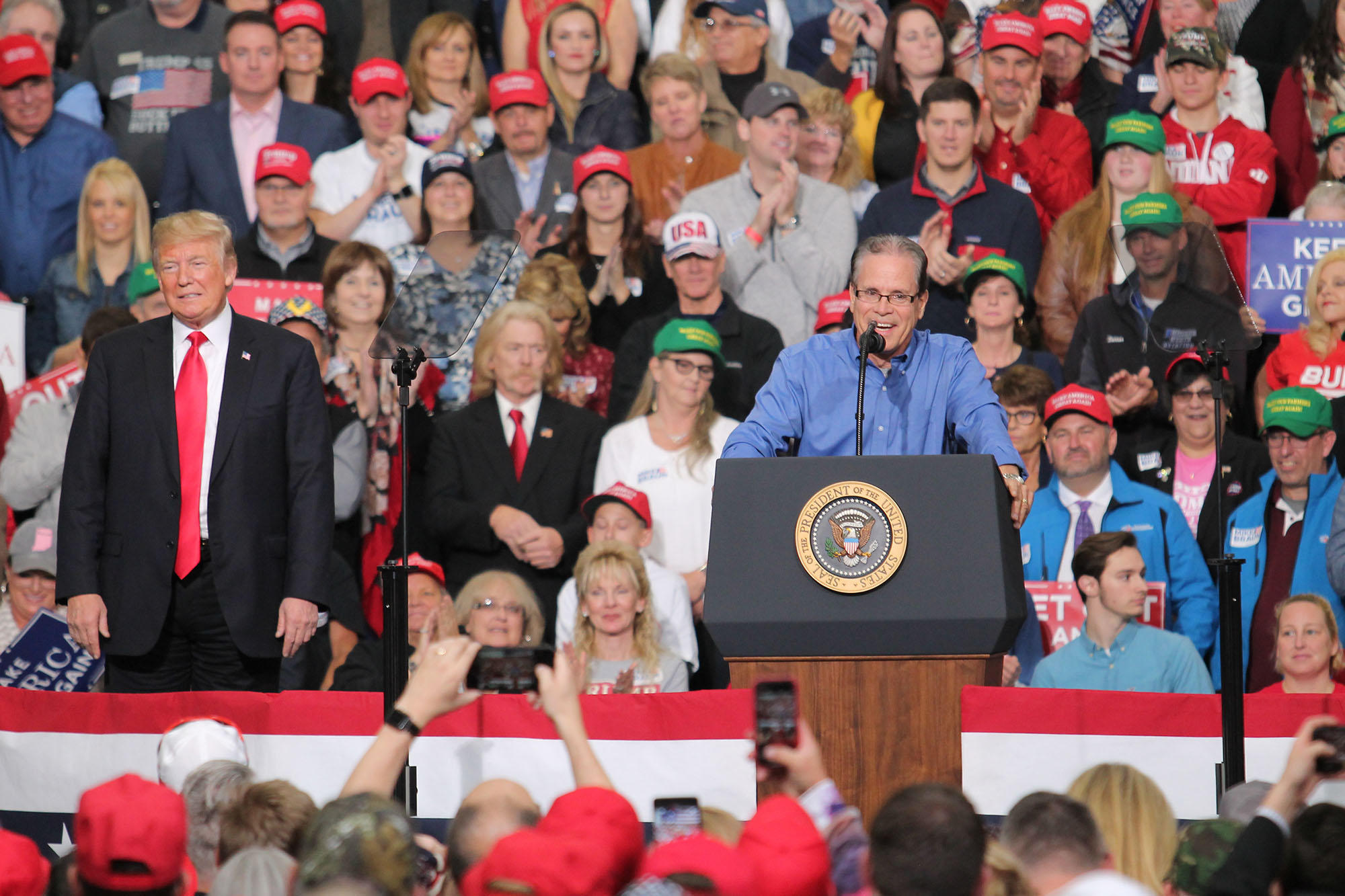 Senator Mike Braun rallies with President Donald Trump in Indianapolis in 2018.