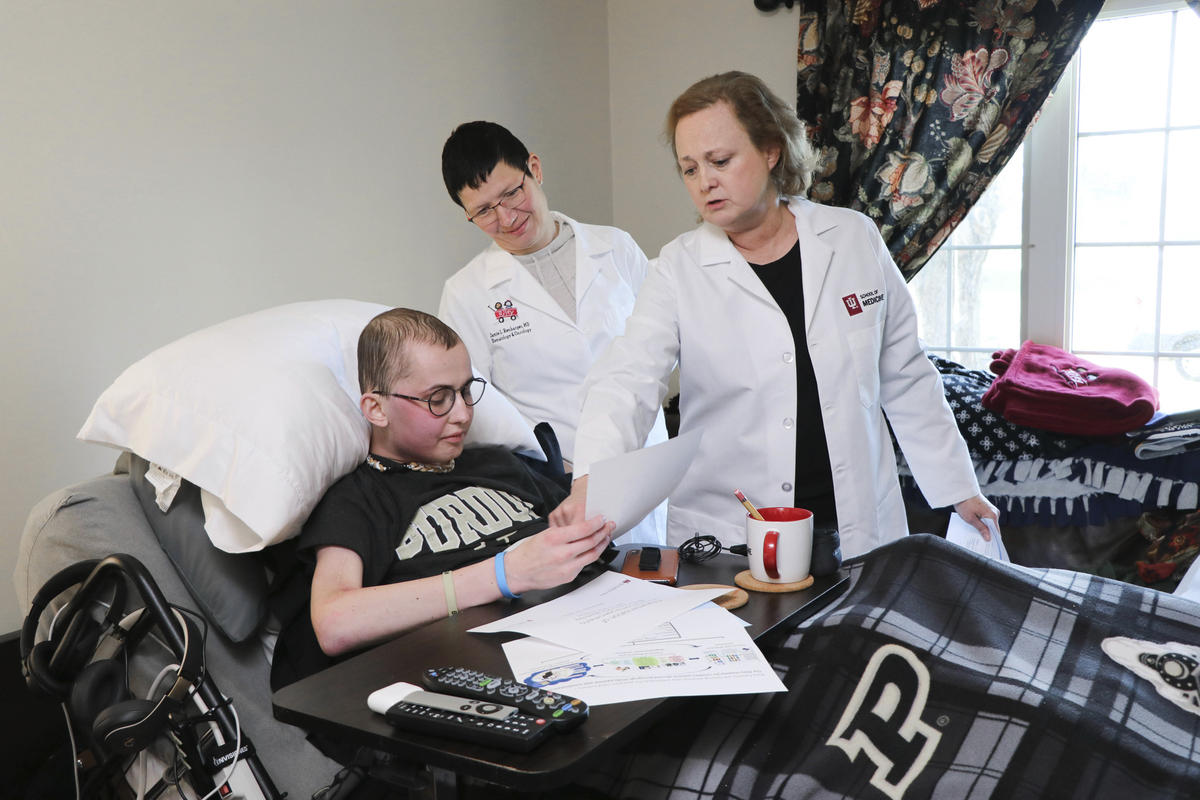 Tyler Trent speaks with Indiana University researchers at his home, one month before his death.