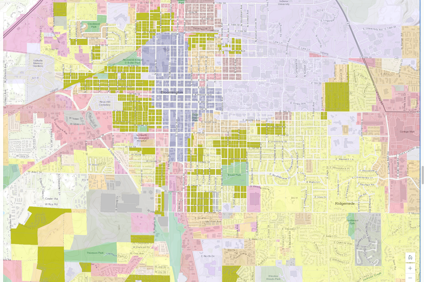 A detailed map of Bloomington's UDO showing urban residential zones.