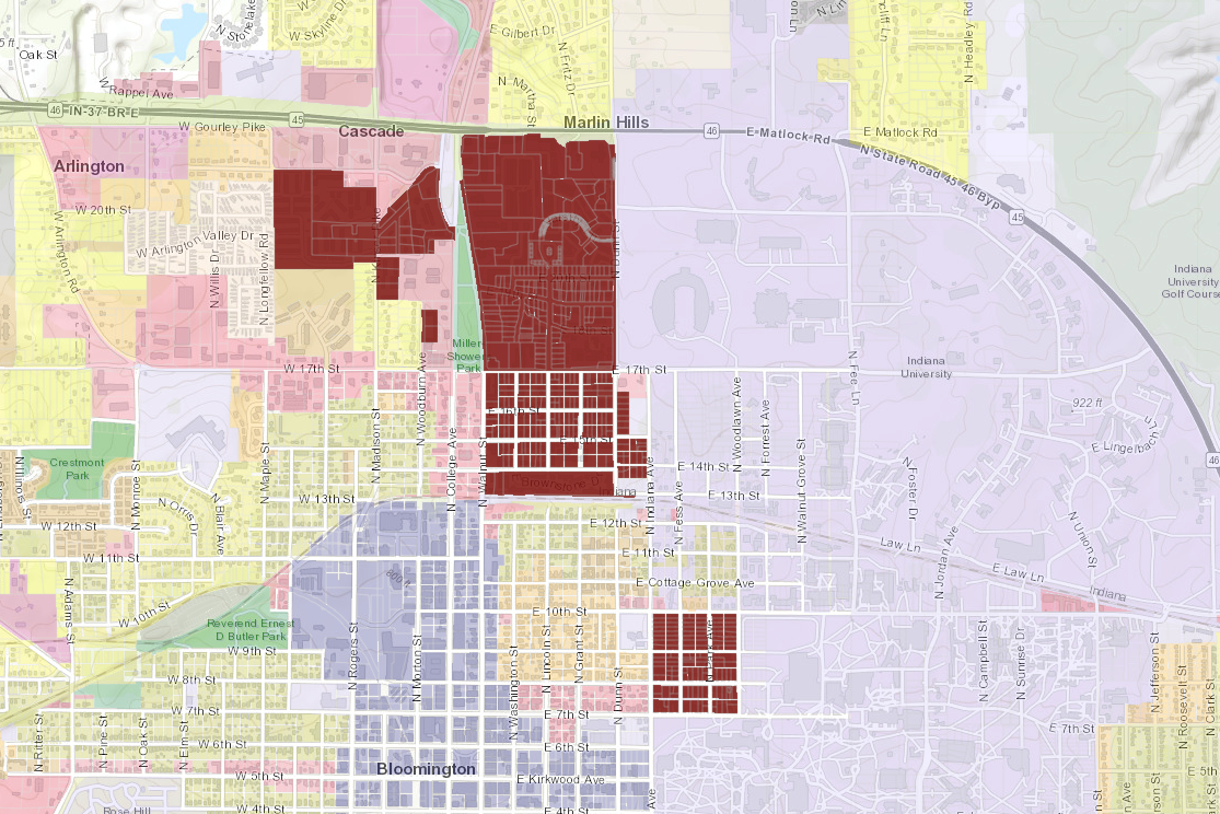 A map of student housing in Bloomington's Unified Development Ordinance.