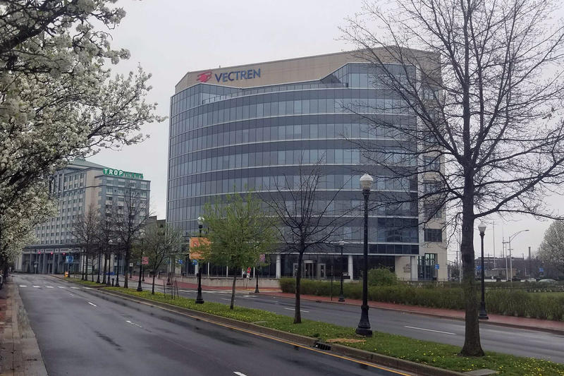 An exterior view of Vectren's HQ building in Evansville.