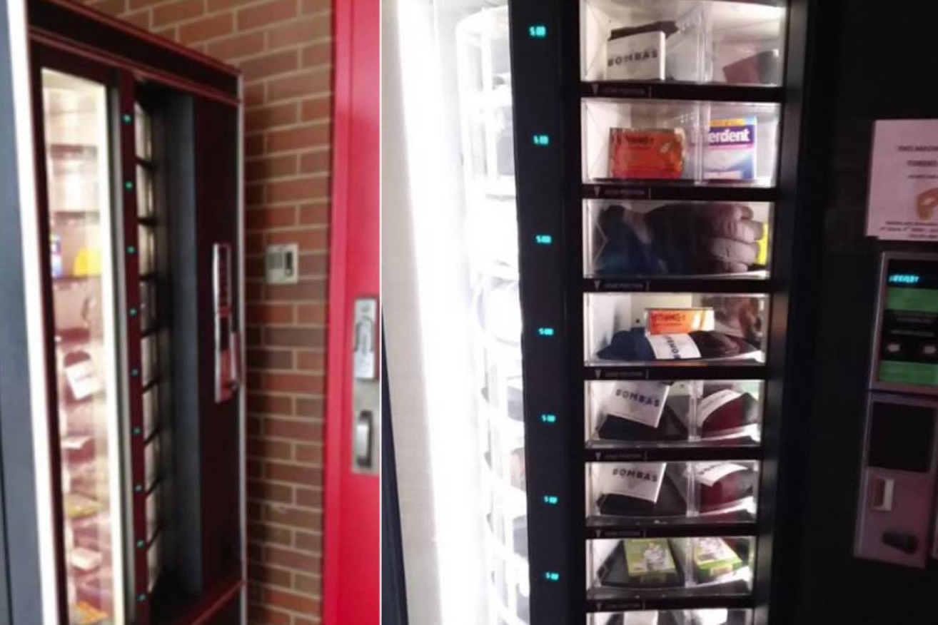 A vending machine for the homeless to get items like socks and gloves