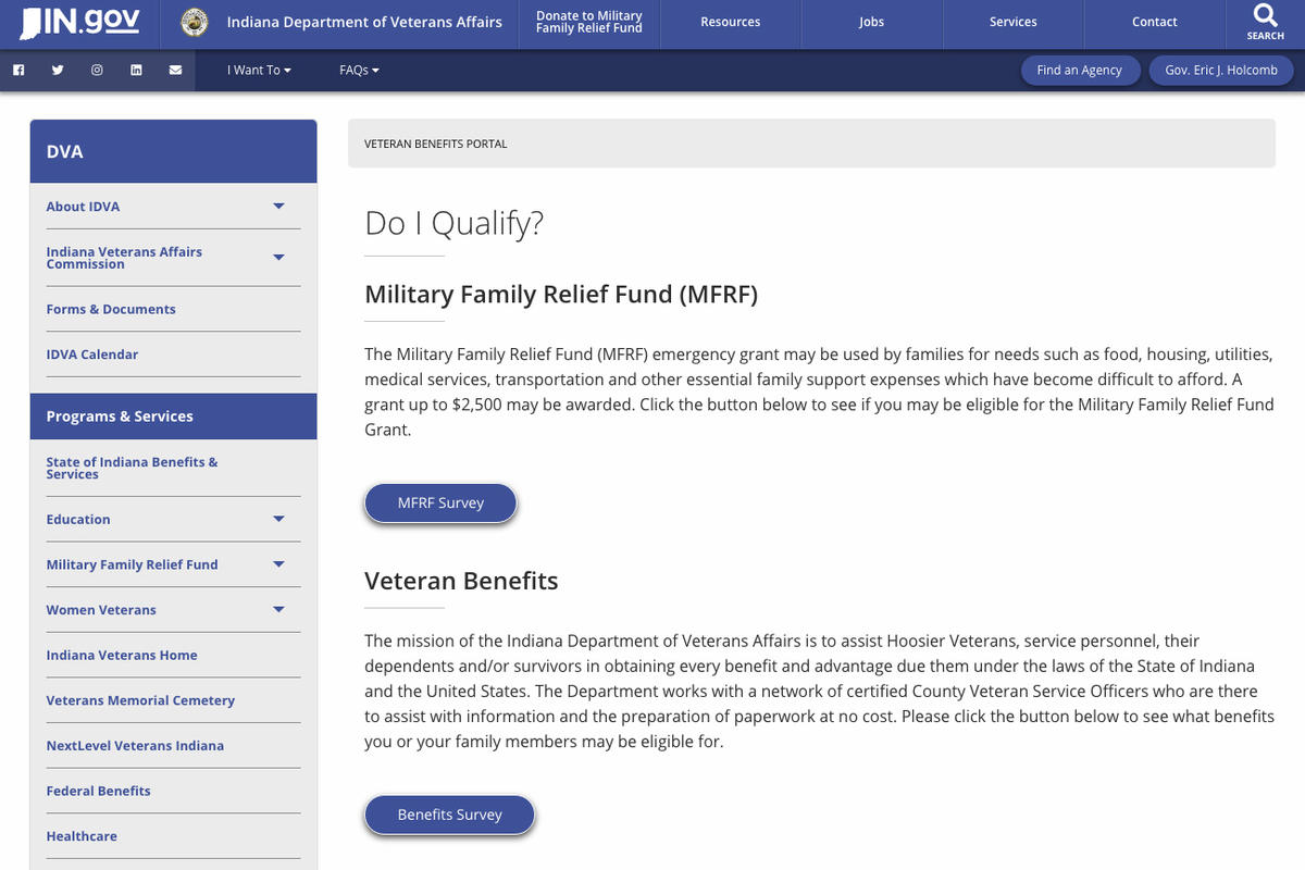 A screenshot of the website for the Indiana Department of Veterans Affairs