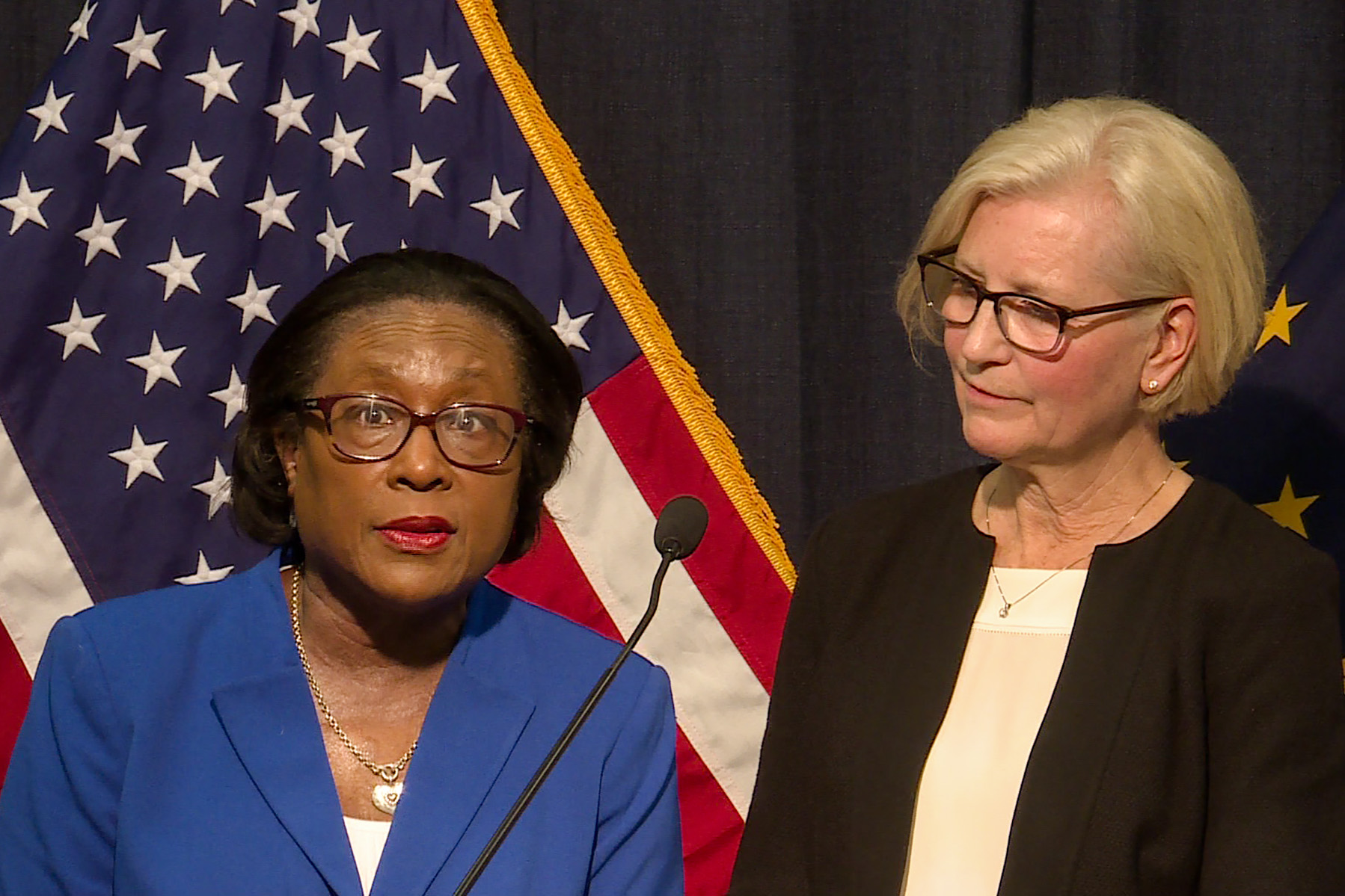 Marion County Health Department Director Virginia Caine and State Health Commissioner Kris Box speak at a press conference about the new coronavirus in Indiana Friday.