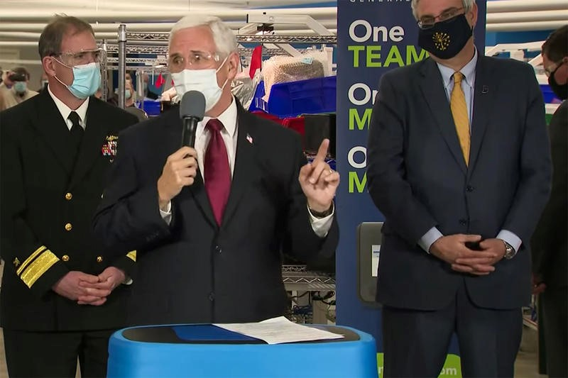 Pence with face mask