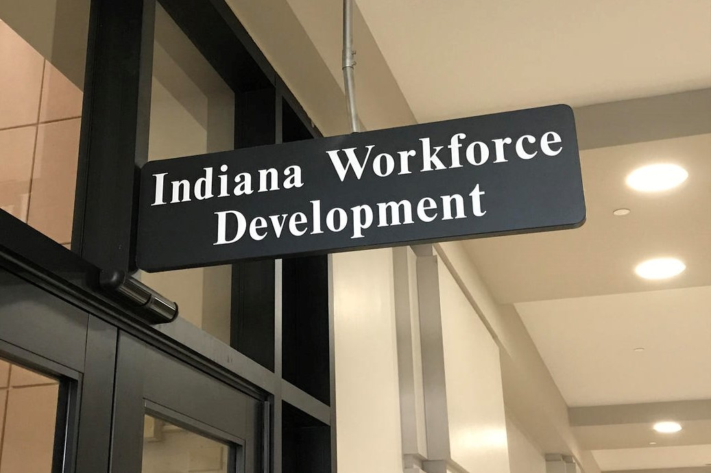 A sign reading 'Indiana Workforce Development.'