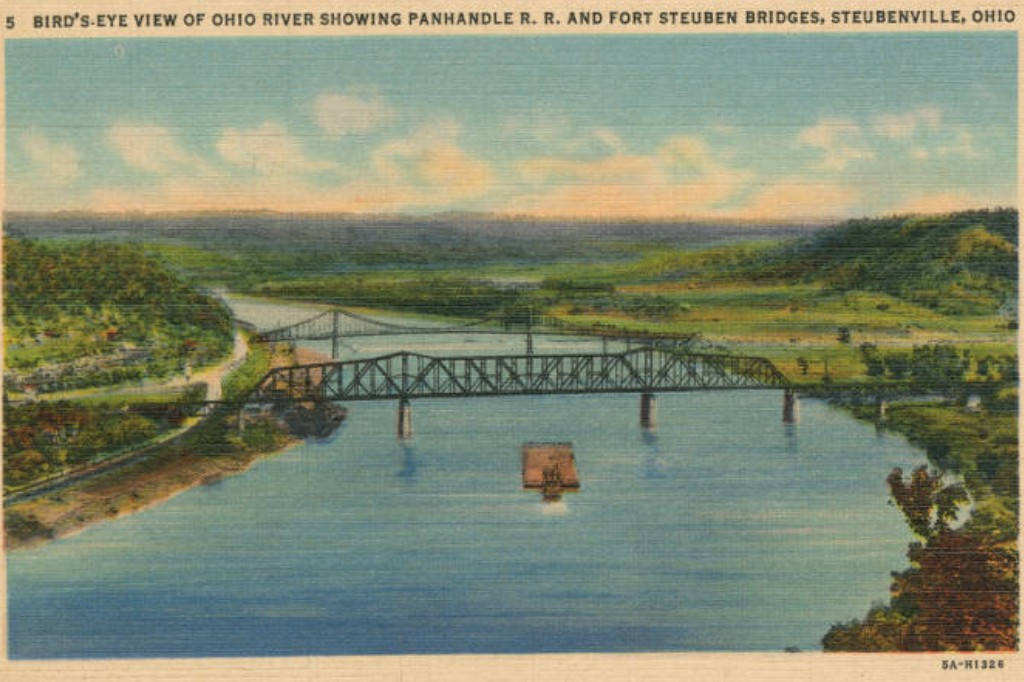 Old postcard showing the Fort Steuben Bridge, Steubenville, Ohio.