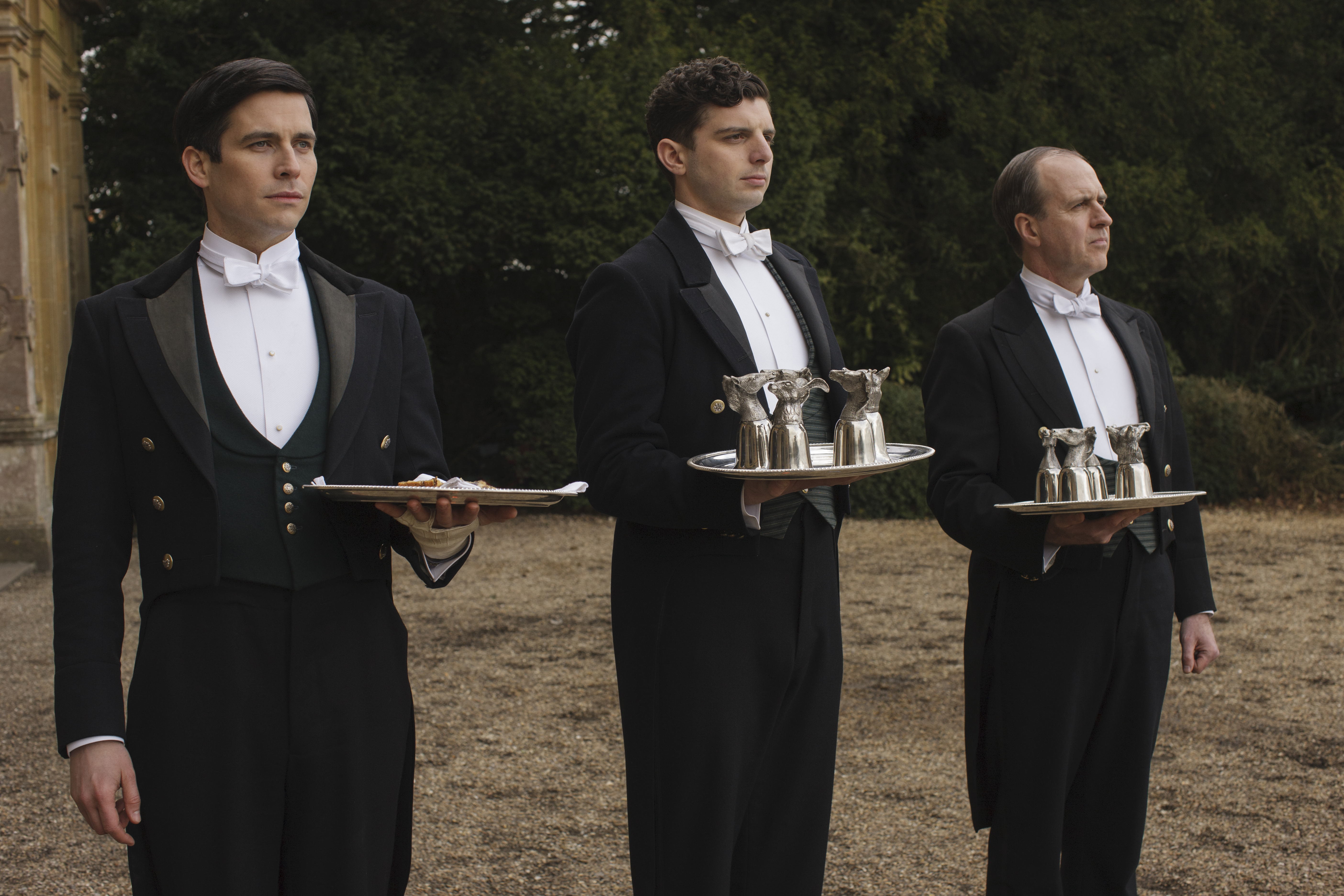 Robert James-Collier as Thomas Barrow, Michael Fox as Andy Parker, and Kevin Doyle as Joseph Molesley.