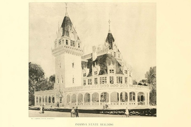 Drawing of the Indiana State Building at the Chicago World's Fair.
