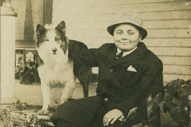 wells as a child, with dog