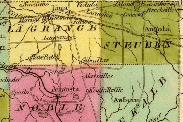 detail of an 1840 map of Indiana.by Jeremiah Greeleaf