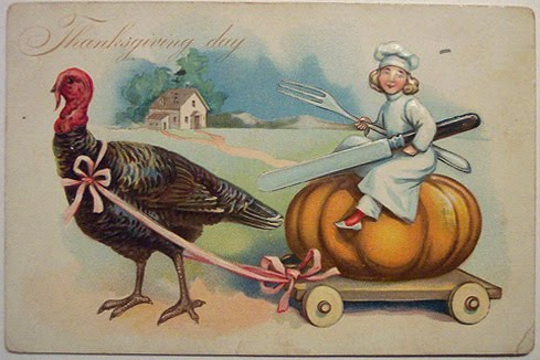 vintage postcard of turkey pulling cart with child sitting on pumpkin