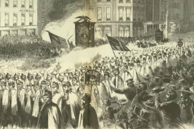 newspaper illustration of rally by The Wide Awakes
