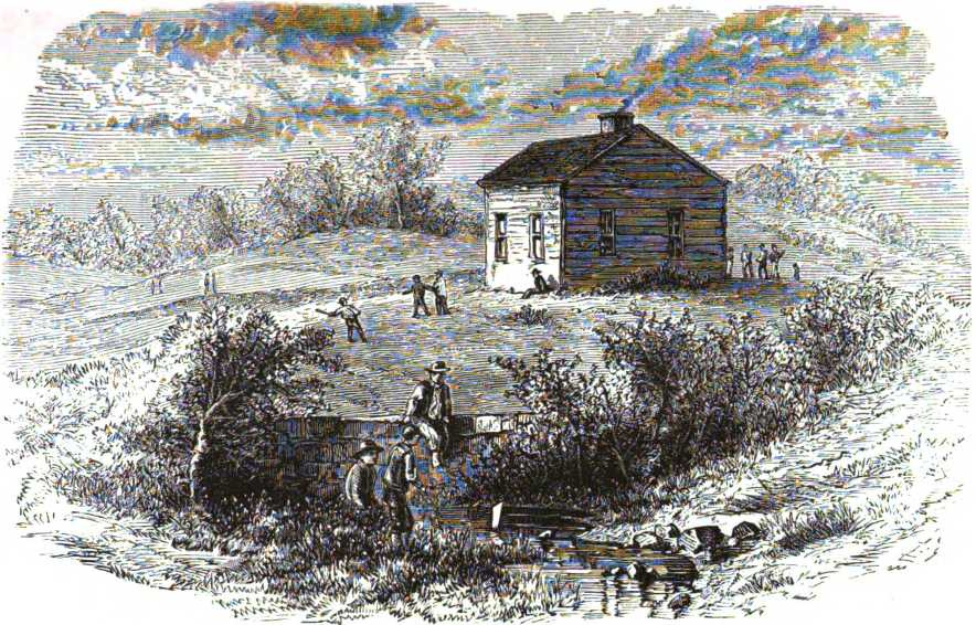 engraving of pioneer school house