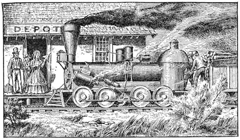 engraving of early Indiana Railroad Depot