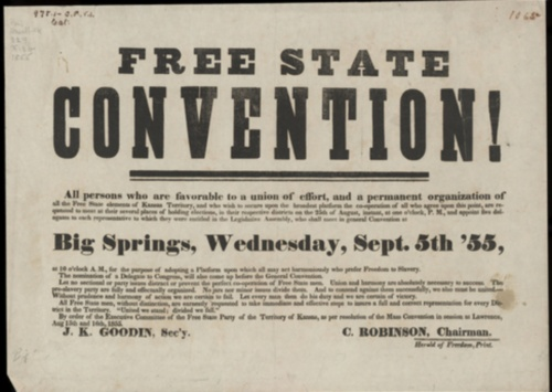 poster from 1855 advertising meeting of those in favor of keeping western states such as Kansas free from slavery