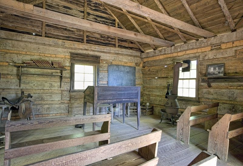 the interior of a mid-nineteenth-century schoolhouse