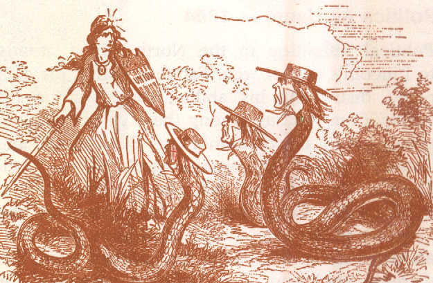 newspaper illustration representing the union defending itself against southern sympathisers during the civil war