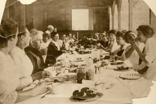 turn-of-century photo of outdoor meal