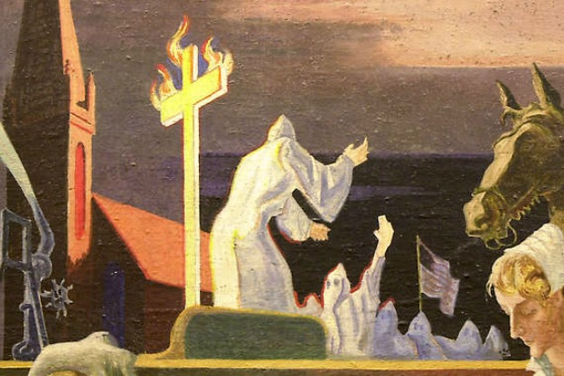 painted image of cross burning from mural by Thomas Hart Benton