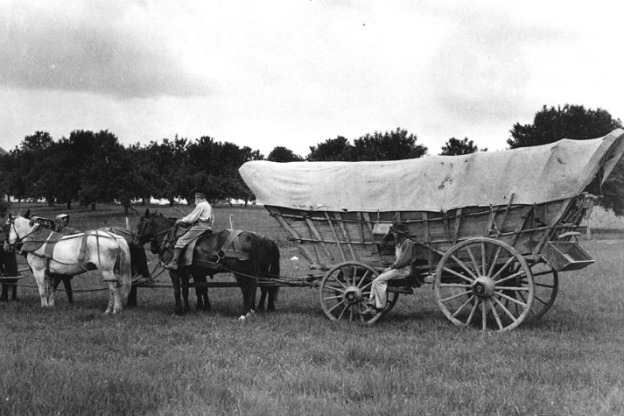 archival photo of conestoga wagon being pulled by team of horses