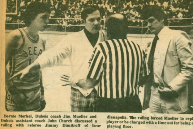 newspaper photo of Indiana high school basketball game