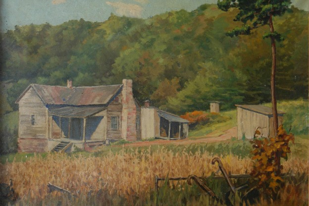 Lucie Hartrath, Cottage Scene, oil on canvas