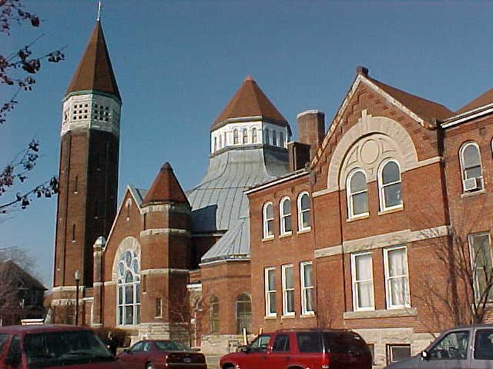 brick Romanesque Revival church in downtown Indianapolis