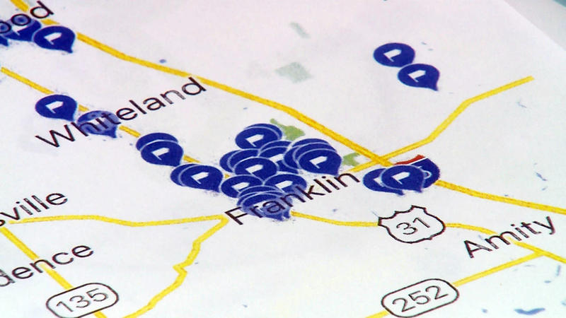 A map showing points where kids in Franklin have been diagnosed with cancer