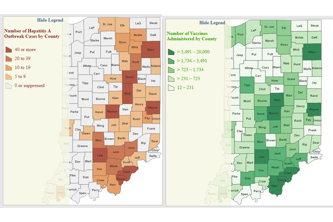 density maps of indiana counties affected by hep a outbreak