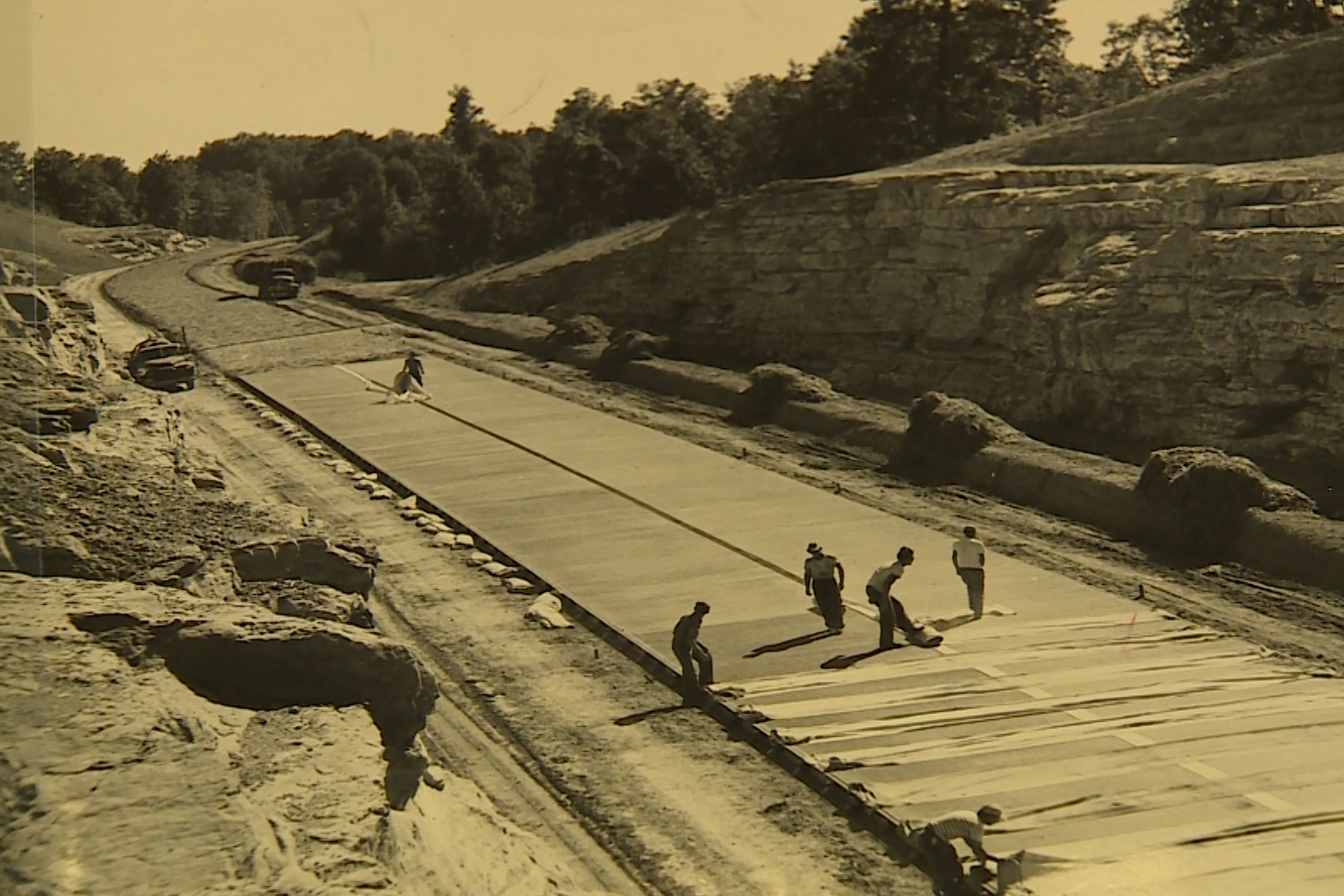 men working on a road
