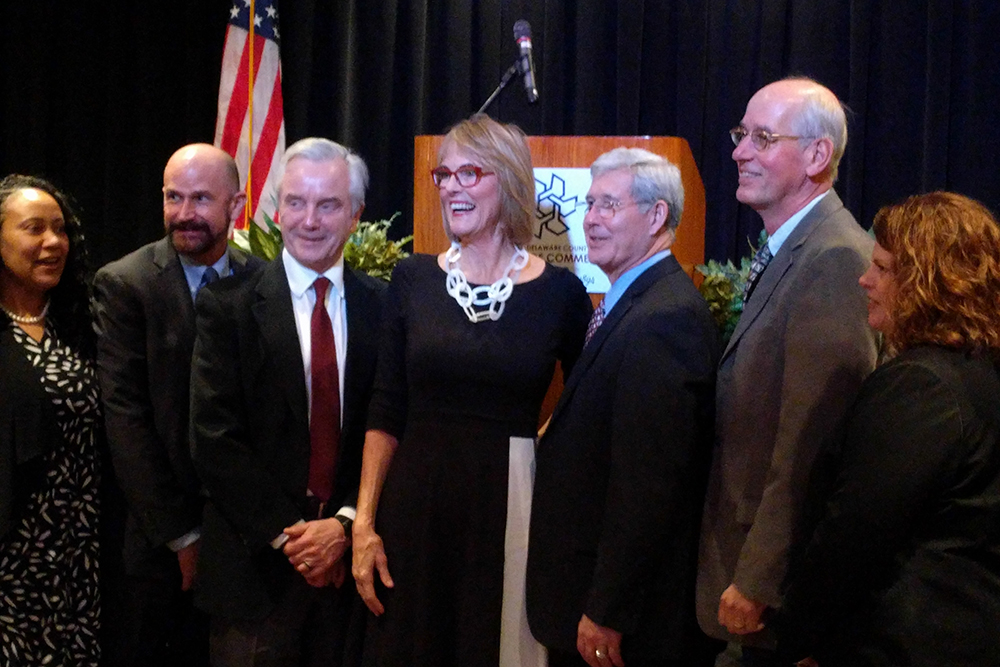 Lt. Gov. Suzanne Crouch posing for a photo with six other people