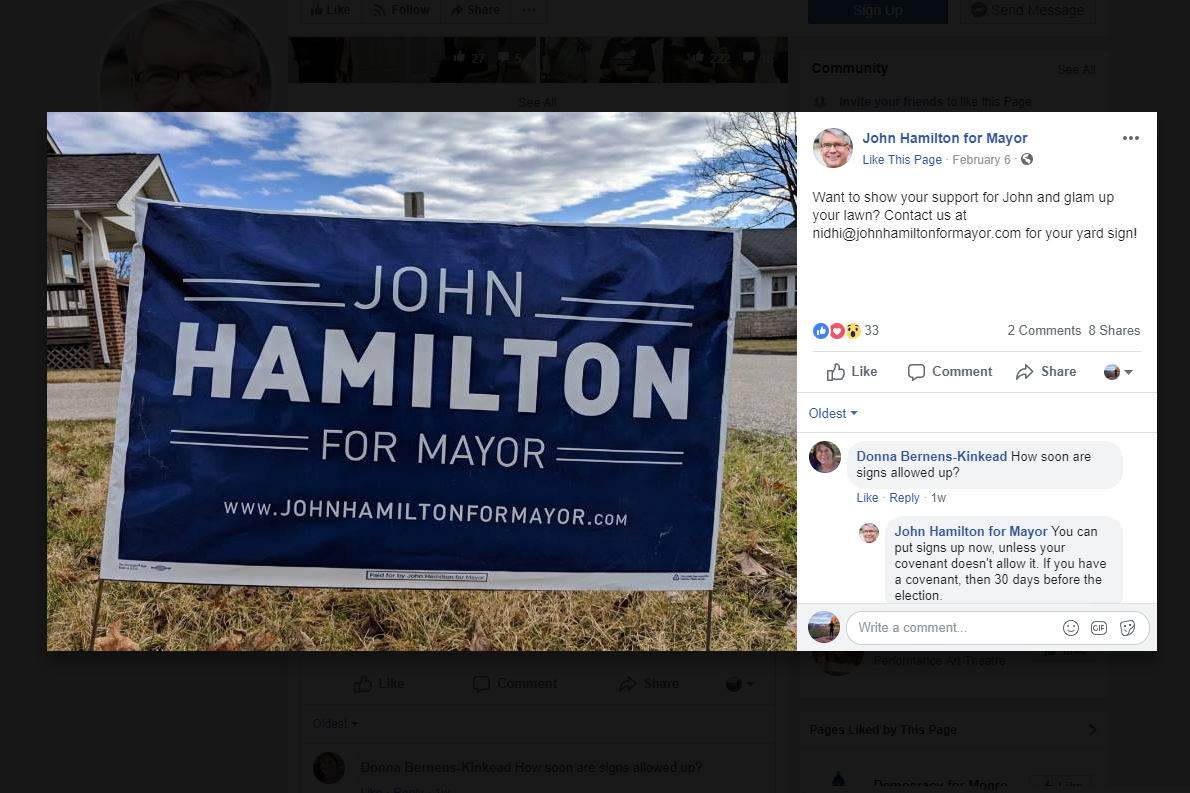 A screenshot of a photo of a hamilton for mayor campaign sign posted on the mayor's campaign facebook page