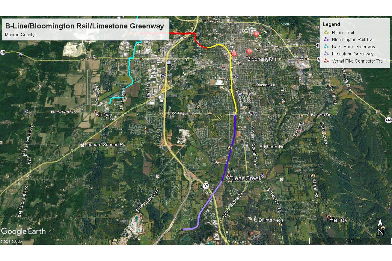 Map showing the path for the limestone greenway trail