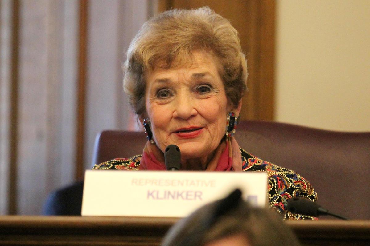 Rep. Sheila Klinker (D-Lafayette) speaks at the Statehouse.