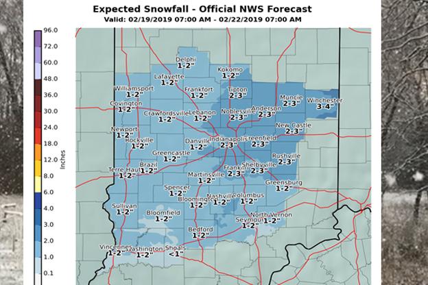 Map of predicted snowfall