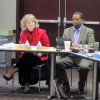 Superintendent of Public Instruction Glenda Ritz, left, and State Board of Education member Tony Walker listen to public comments.