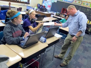 In flipped classrooms, students watch online videos of lectures at home so they can work on classwork in school. Teacher Troy Cockrum requires his students to take notes on the videos, which he checks daily.