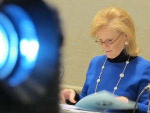 Indiana Commissioner for Higher Education Teresa Lubbers prepares for the December meeting.