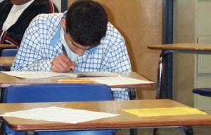 A student taking a test at a California high school.