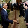 President Barack Obama greets audience members before his NCLB waiver announcement on Thursday, February 9.