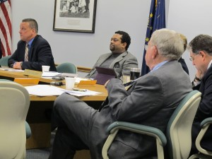 State superintendent Tony Bennett, left, leads the Indiana State Board of Education meeting on February 8. (File)