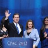 Presidential candidate Rick Santorum waves with his family after addressing the CPAC Conference on February 10. Mr. Santorum and his wife enrolled five of their children in an online charter school about a decade ago. He's been a supporter of homeschooling.