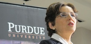 Purdue University president France Córdova holds a press conference in January.
