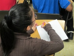 A student at a public intermediate school in Anderson.