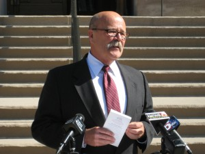 Democratic gubernatorial candidate John Gregg speaks at a press conference on the steps of the Indiana statehouse in 2012. (Photo Credit: Brandon Smith/Indiana Public Broadcasting)