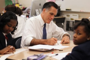 Mitt Romney visits a Philadelphia charter school on May 24, 2012. Recent polls indicate the Republican presidential candidate may hold more sway with independent voters than President Barack Obama on education issues.