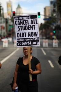 Demonstrators in Los Angeles protest the rising cost of higher education on Sept. 22, 2012. According to the U.S. Department of Education, more than 13 percent of borrowers who began paying off their student loans in 2009 had defaulted on payments three years later.